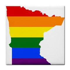 Lgbt Flag Map Of Minnesota  Tile Coasters