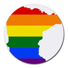 Lgbt Flag Map Of Minnesota  Round Mousepads