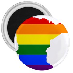 Lgbt Flag Map Of Minnesota  3  Magnets