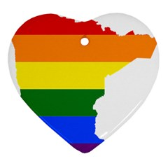 Lgbt Flag Map Of Minnesota  Ornament (heart)