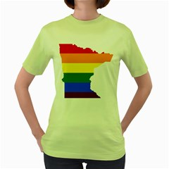 Lgbt Flag Map Of Minnesota  Women s Green T Shirt