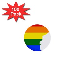 Lgbt Flag Map Of Minnesota  1  Mini Buttons (100 pack)