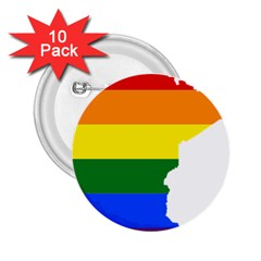Lgbt Flag Map Of Minnesota  2 25  Buttons (10 Pack)