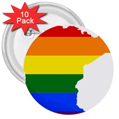 Lgbt Flag Map Of Minnesota  3  Buttons (10 Pack)