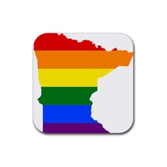 Lgbt Flag Map Of Minnesota  Rubber Coaster (square)