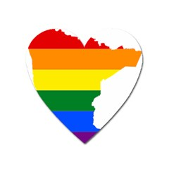 Lgbt Flag Map Of Minnesota  Heart Magnet