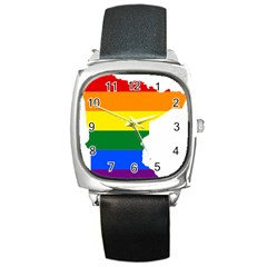 Lgbt Flag Map Of Minnesota  Square Metal Watch