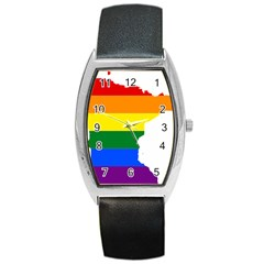 Lgbt Flag Map Of Minnesota  Barrel Style Metal Watch
