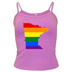 Lgbt Flag Map Of Minnesota  Dark Spaghetti Tank