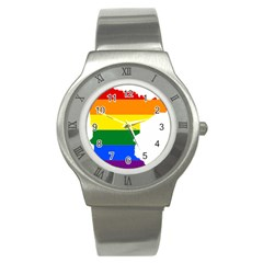 Lgbt Flag Map Of Minnesota  Stainless Steel Watch