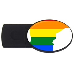 Lgbt Flag Map Of Minnesota  Usb Flash Drive Oval (4 Gb)