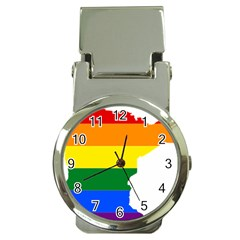 Lgbt Flag Map Of Minnesota  Money Clip Watches