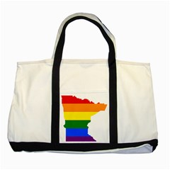 Lgbt Flag Map Of Minnesota  Two Tone Tote Bag