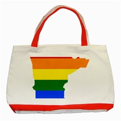Lgbt Flag Map Of Minnesota  Classic Tote Bag (red)