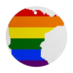 Lgbt Flag Map Of Minnesota  Round Ornament (two Sides)
