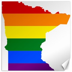 Lgbt Flag Map Of Minnesota  Canvas 12  X 12