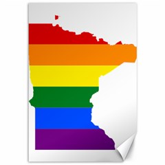 Lgbt Flag Map Of Minnesota  Canvas 12  X 18