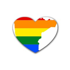 Lgbt Flag Map Of Minnesota  Heart Coaster (4 Pack)