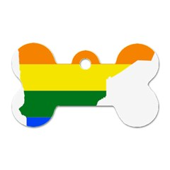 Lgbt Flag Map Of Minnesota  Dog Tag Bone (two Sides)