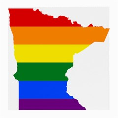 Lgbt Flag Map Of Minnesota  Medium Glasses Cloth (2 Side)