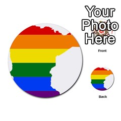 Lgbt Flag Map Of Minnesota  Multi Purpose Cards (round)