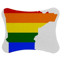 Lgbt Flag Map Of Minnesota  Jigsaw Puzzle Photo Stand (bow)