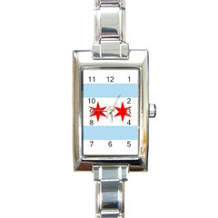 Flag Of Chicago Rectangle Italian Charm Watch