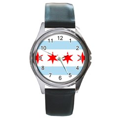 Flag Of Chicago Round Metal Watch