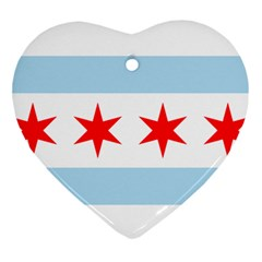 Flag Of Chicago Ornament (Heart)