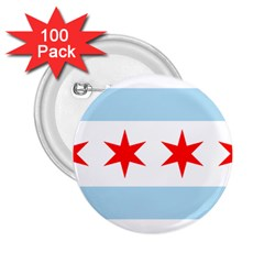 Flag Of Chicago 2 25  Buttons (100 Pack)