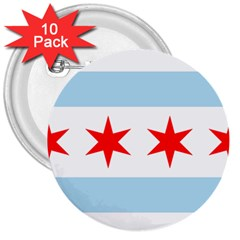 Flag Of Chicago 3  Buttons (10 Pack)