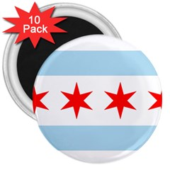 Flag Of Chicago 3  Magnets (10 Pack)