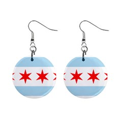 Flag Of Chicago Mini Button Earrings