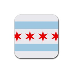 Flag Of Chicago Rubber Coaster (square)