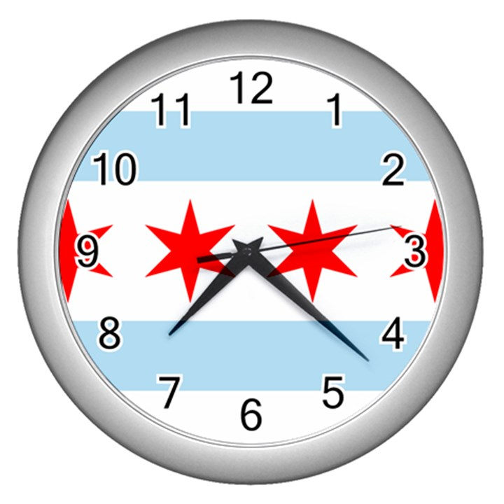 Flag Of Chicago Wall Clocks (Silver)