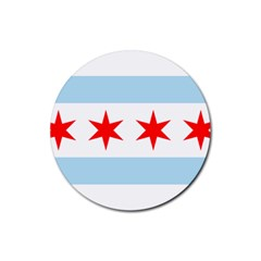 Flag Of Chicago Rubber Round Coaster (4 Pack)