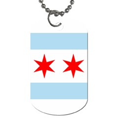 Flag Of Chicago Dog Tag (one Side)