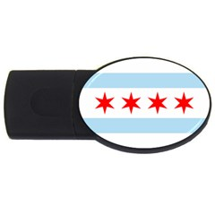 Flag Of Chicago Usb Flash Drive Oval (2 Gb)