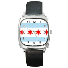 Flag Of Chicago Square Metal Watch
