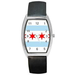 Flag Of Chicago Barrel Style Metal Watch