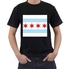 Flag Of Chicago Men s T Shirt (black) (two Sided)