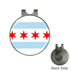 Flag Of Chicago Hat Clips With Golf Markers