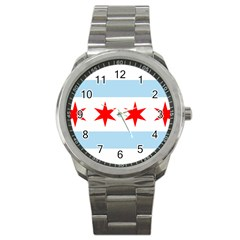 Flag Of Chicago Sport Metal Watch