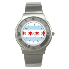 Flag Of Chicago Stainless Steel Watch