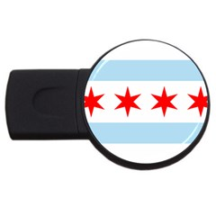 Flag Of Chicago Usb Flash Drive Round (4 Gb)