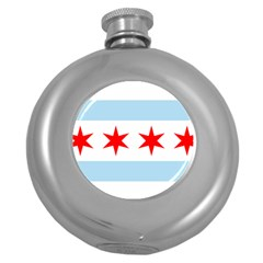 Flag Of Chicago Round Hip Flask (5 Oz)