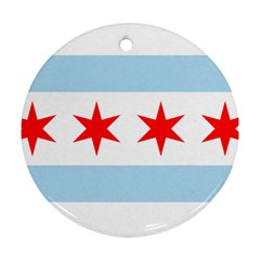 Flag Of Chicago Round Ornament (two Sides)