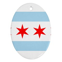 Flag Of Chicago Oval Ornament (two Sides)