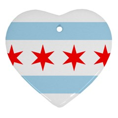 Flag Of Chicago Heart Ornament (2 Sides)
