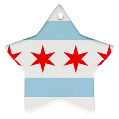 Flag Of Chicago Star Ornament (two Sides)